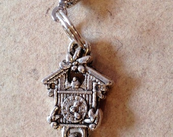Charm Cuckoo Clock silver, necklace pendant
