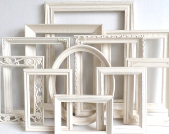 Antique White PICTURE FRAMES Set - Nursery Frames - Wedding - Vintage Collection - Shabby Chic Farmhouse - Distressed - Gallery Wall