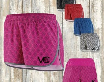Volleyball utility shorts with VC logo and SpikeChick