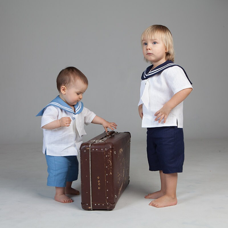 Baby boy sailor outfit boy baptism linen suit nautical wedding
