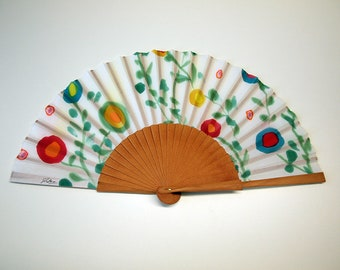 Hand fan Handpainted Silk- Abanico-Wedding gift-Giveaways-Bridesmaids- Spanish hand fan - Flowers Hand Fan 17 x 9 inches (43 cm x 23 cm)