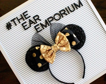 GOLD Minnie Mouse Ears Headband ~ Black and Gold Polka Dot