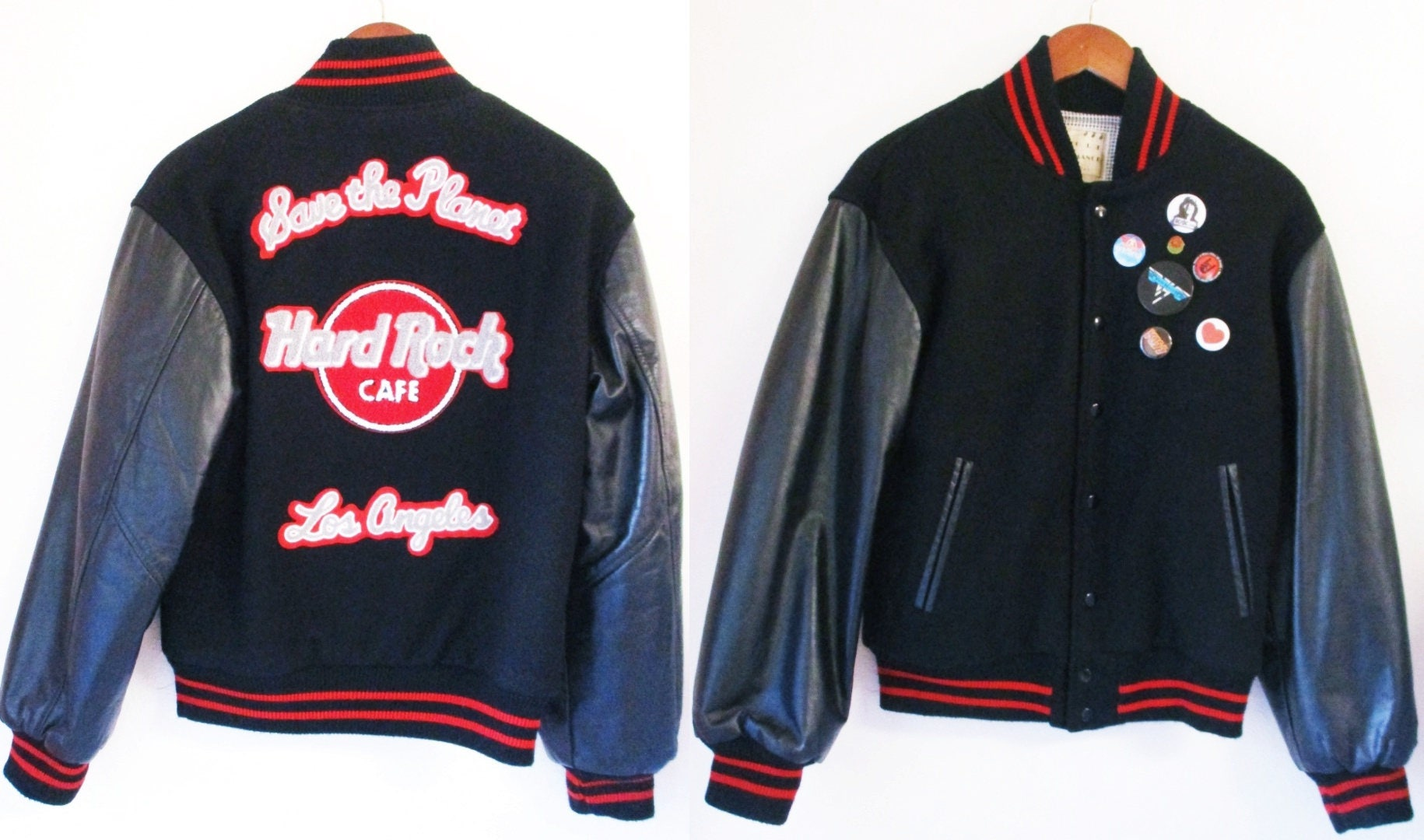 80s Hard Rock Cafe Bomber Jacket Vintage Save The Planet Los Angeles California Leather Wool Mens Small 1AZvgV