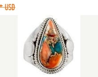 MEMORIAL DAY SALE Stunning Authentic Handmade Sterling Silver Sleeping Beauty Turquoise/Spiny Oyster Shell Southwestern Ring Size 9