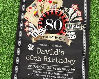 vintage, casino party, birthday invitation, gambling, adult game, casino night, adult party, adult birthday, las vegas party, card 484