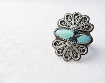 Sterling Silver Rings For Women, Turquoise Rings For Women, Silver Filigree Ring, Silver Butterfly Ring, Large Boho Ring, Statement Rings