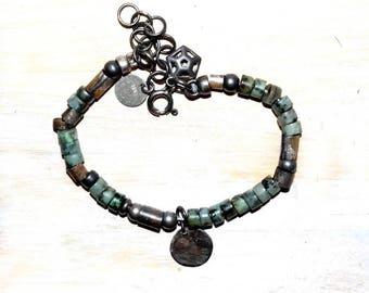 silver 925 african turquoise bracelet, sterling silver bracelet, raw silver,