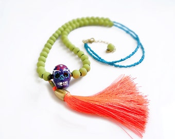 Long Tassel Necklace, Beaded Skull Necklace, Dia De Los Muertos Jewelry, Statement Necklace