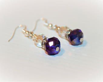Pendant earrings-blue jewellery drops-made with blue and white crystal beads, with glitter spacer