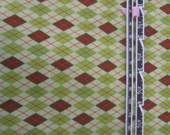 Riley Blake Fox Trail Argyle Fabric, Green and Brown Argyle, St. Patricks Day Fabric, Green Argyle