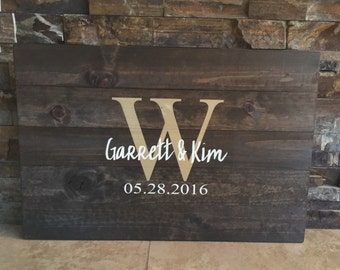 Rustic Hand Painted Pallet Wooden Guestbook Alternative- Monogram - Wooden Guest Book