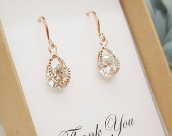 ROSE GOLD Teardrop Design with Round shape Crystal Earrings,Bridesmaid Jewelry Message Gift Box