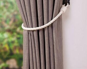 Cotton Rope Curtain Tie-backs/ Nautical Style Curtain Ties/ Rope Tie backs/ Curtain Hold backs/ Shabby Chic Window Treatment/ Simple Tieback