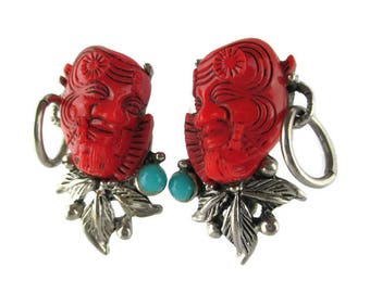Selro Red Devil Clip Earrings/Japanese Theater Okina Noh Mask Earrings /Signed Selro Red Warrior Silver Tone Earrings