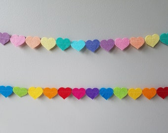 Rainbow Felt Heart Garlands Pastel or Bright