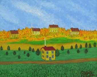 YELLOW HOUSES - Original Acrylic Painting framed 24.5x20.5  No. 670