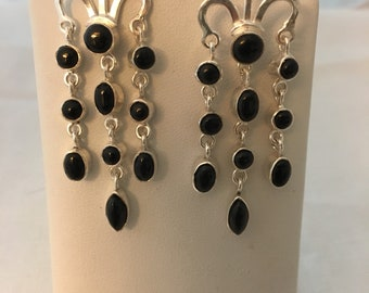 Onyx 925 Sterling Silver Dangle Drop Filagree Earrings