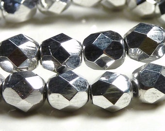 6mm Silver Faceted Czech Glass Beads - 25pc Strand - Round, Fire Polished - BD13
