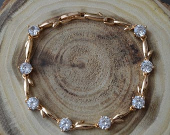 Gold bracelet,Cubic zirconia bracelet, bridal bracelet, wedding bracelet, wedding jewelry.