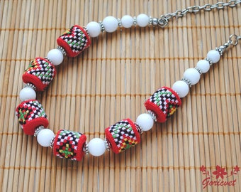 Agate necklace Boho jewelry bead embroidery jewelry Ukrainian jewelry Red White Agate jewelry Boho necklace for women Ukrainian gift for her