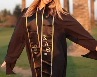 Kappa Alpha Theta Class of 2018 Graduation Stole (Black & Gold)