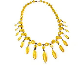 Czech Glass Fringe Necklace - Yellow Glass, Czech Glass Beads, Bib Necklace, Art Deco Jewelry, Egyptian Revival, Sunshine Jewelry