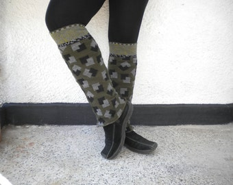 upcycled sweater leg warmers moss green and black
