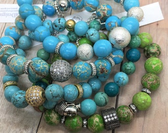 Turquoise Nugget & Gold Pave Beads Bracelet, Valentines Day Gift, micro pave Boho stretch layering Healing Jewelry Yoga Beach Friendship