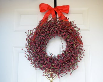 Red Christmas Wreath - gold glitter red raspberries  - Front Door wreath - red bow -  Holiday wreath