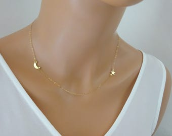 Moon and Star Necklace, Delicate Gold filled Necklace, Crescent Moon Necklace, Moon pendant, Sideways moon necklace, Star necklace