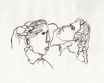 a couple in love, pen line drawing, original portrait