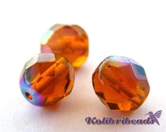 Fire polished Czech Glass Beads 8 mm - Dark Topaz AB