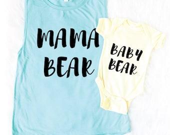 Matching Mommy Daughter - Matching Mommy Son - Mama Bear Tank - Baby Bear Bodysuit - Mama Bear Tank - Mama Bear Shirt - Baby Shower Gift