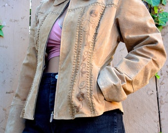 90s MUDD embroidered and crocheted suede leather jacket tan size S M