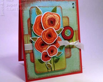 Sending You Birthday Wishes Poppies Fancy Greeting Card Handmade Red Blue Green for Wife Girlfriend Friend Sister Mom Daughter Niece Aunt