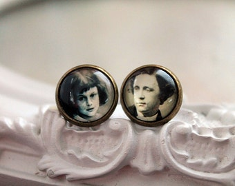 Alice in Wonderland Lewis Carroll clip on earrings Victorian sweet lolita feminine