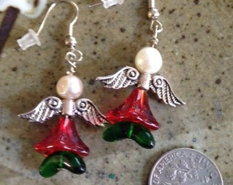 Red and green angel earrings with fresh water pearls, holiday earrings