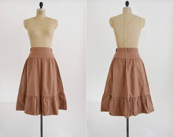 Warm Rays Skirt / 1970s cotton prairie skirt / vintage mauve ruffle tiered skirt