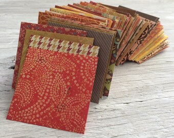 Handmade Mini Envelopes -  2.25 inch square self sealing pack of 10, warm earth tone colors