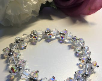 Swarovski Crystal bracelet, 8mm Crystal, 5mm Crystal, Rondelle and Bicone Beads, Valentines Day, Mothers Day