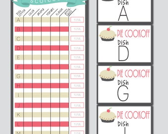 Group Pie Cookoff Scorecard and Entry Letters - INSTANT DOWNLOAD