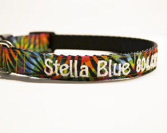 """Personalized Dog Collar - Tye Dye - Adjustable Dog Collar - 3/4""""- 5/8"""" wide - Made to order"""