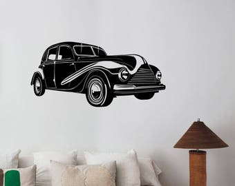 Classic Car Decal Retro Automobile Vehicle Roadster Vinyl Sticker Race Traffic Wall Art Decorations for Home Room Bedroom Garage Decor cs3