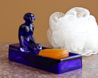 Vintage Sarsaparilla Soap Dish, S.D.D. 1981, cobalt blue glass, nude woman, trinket jewelry holder