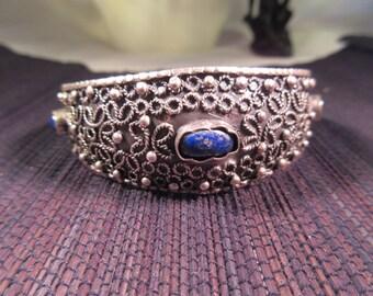 Very Retro Sterling Silver Blue Lapis Cuff bracelet