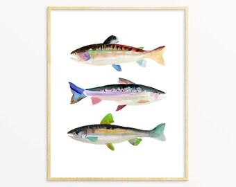 Trout Watercolor Art Print. Blue & Green Watercolor Fish Art Painting. Pond Life Nature Decor. Fisherman Dad Wall Art. Trout Illustration.