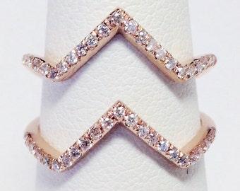 1/3CT Diamond Double Chevron Ring V Band Anniversary Bands CrissCross X Rings Art Deco Antique Style Platinum 18K 14K White Yellow Rose Gold