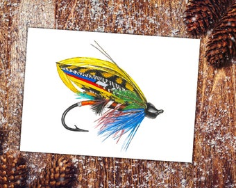 Watercolor Trout Fly, Fly Fishing Gifts, fly fishing art, Fishing Gift for him, Art for Man Cave, fishing fly art, Fishing Flies