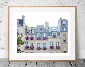 Paris Apartment with view, Bedroom wall decor, Paris Balcony Photo, Paris, Paris flower boxes, Paris Digital Print, Pink Wall Photo