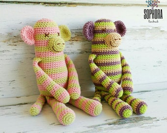 Patron de crochet/Amigurumi Pattern/Amigurumi Monkey/Mono a rayas, Crazy Monkey/Crochet Pattern, Amigurumi Pattern, PDF